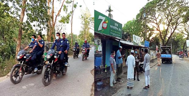 গুরুদাসপুরের গ্রামে গ্রামে টহল দিচ্ছে পুলিশ ও সেনাবাহিনী
